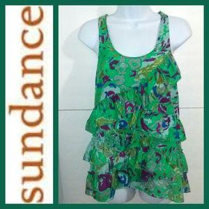 SUNDANCE Green Tiered Sleeveless Top Size 8